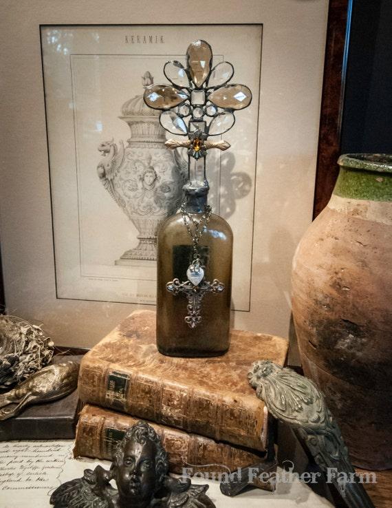 Handmade Glass Cross Bottle with Century Old 1910 Antique Bottle Base