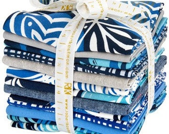 """Robert Kaufman - Fat Quarter Bundle """"Marks"""" by Valori Wells  -- 12 different fat quarters and one panel 1/3 yard WOF- Colorstory Indigo"""