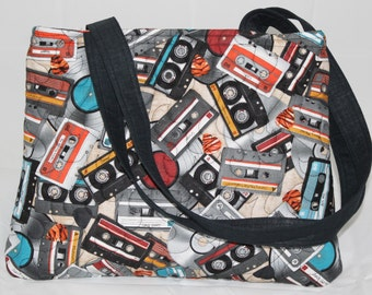 Handmade Quilted Purse/Handbag with zipper closure, Cassette Tape fabric