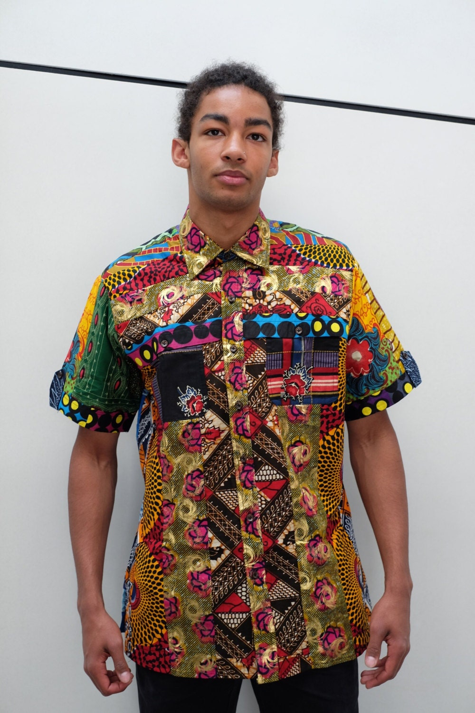 African print shirt for men. Ankara fabric. Wax africain. Made Ankara Print Men