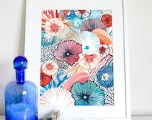 Coral & shells deep sea print 1, coastal decor, nautical poster, ocean print, coral illustration, shells drawing, beach poster, housewarming
