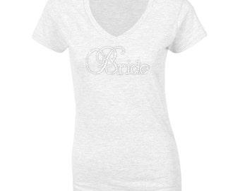 Personalised Bride T Shirt - Bridal Party T-Shirt, Bride Tee, Wedding Gift, Wedding T-shirt, Diamante Wording