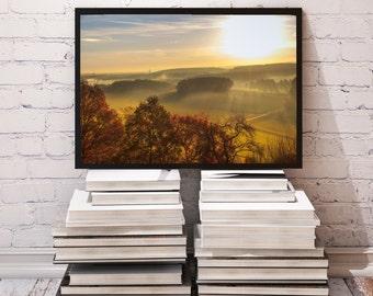 Nature poster Sunrise decor Trees print