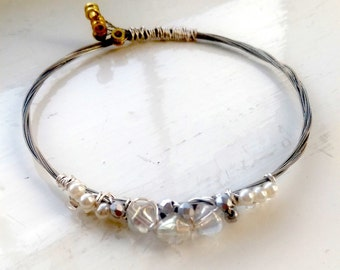Crystal and Pearl Bead Recycled Guitar String Bangle