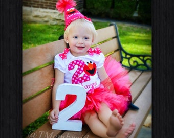 Elmo Birthday Appliqué Tutu Outfit