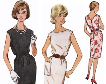 Simple Vintage Dress Pattern SIMPLICITY 4429 sz 16 b 36 1960s Shift Dress V-back Dress Straight Dress 1960s Dress Pattern Day into Evening