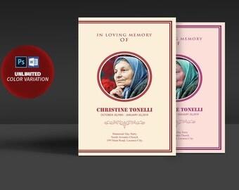 In Loveing Of Memory Funeral Program - Funeral Memorial Program Template - Editable MS Word & Photoshop Template - INSTANT DOWNLOAD
