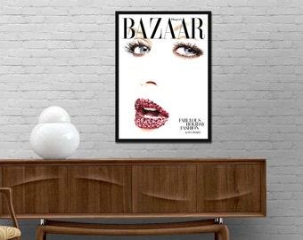 Bazaar cover poster Harpers Bazaar Fashion magazine print Bazaar Journal wall art Minimalist design Modern decor Best price art