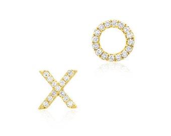 xoxo earrings. xoxo stud earrings. xoxo silver stud earrings. cz xoxo gold earrings. cz xoxo rose gold stud earrings. xo earrings.