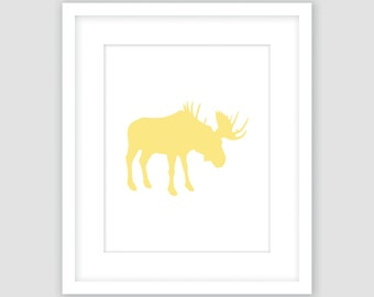 Buttercup Yellow Moose Silhouette on White Print, Animal Wall Art, Modern Art, Instant Download, DIY, Printable