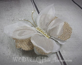 Butterfly Hair Clip for Wedding, with Crystals