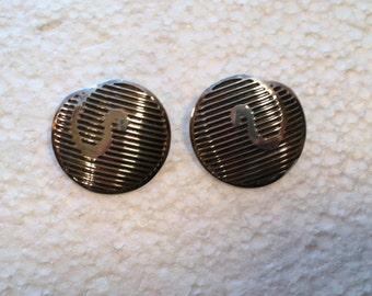 Vintage Sterling Silver Disc Earrings