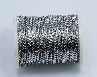 10 meters Silver Metallic Braided Rayon Cord Craft Thread Twine, 0.8mm thick, Christmas Ornaments Macrame Dreamcatcher Webbing  35TH01-J