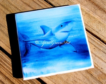 Great white shark ceramic tile art coasters handmade by artist- April Greer, original art print ceamic tile coasters with gloss resin finish