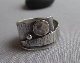 SALE 20% OFF/ Texturized Silver Ring/ Wide Band/ Metalsmith Ring/ Contemporary Ring/Wide silver Ring/ Artisan Ring/ Oxidized Silver Ring