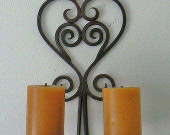 Vintage Cast Iron Candle Wall Sconce, Black Iron Pillar Candelabra, Scroll Candle Holder, Vintage Candle Holder