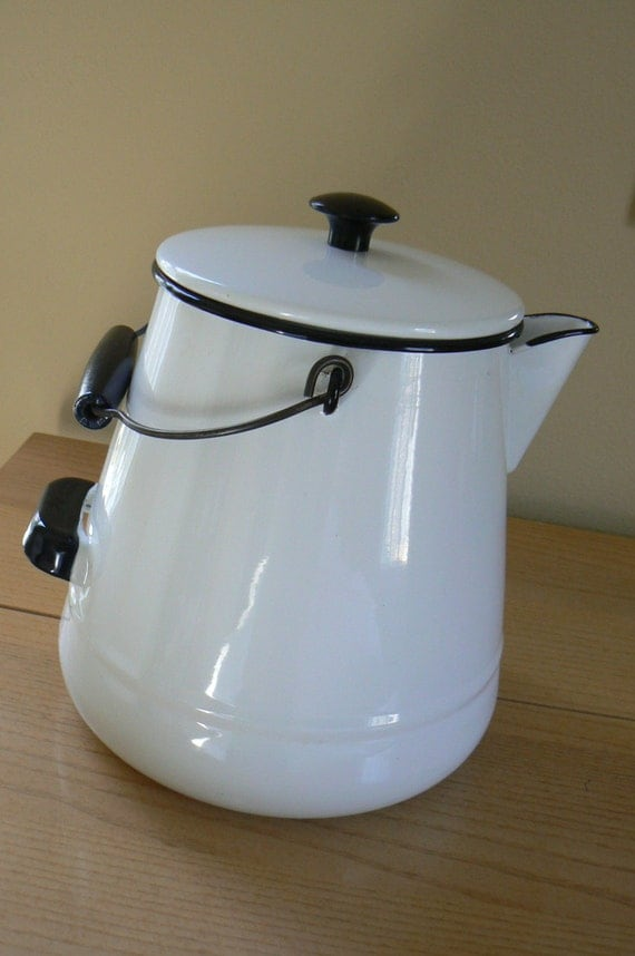Large Vintage Enamel Coffee Pot Vintage Enamelware Pot Large