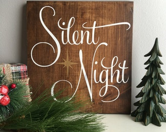 Silent Night Christmas Sign - Christmas Wood Sign - Holiday Decor - Christmas Decorations - Silent Night - Gold Sign - Rustic Christmas Sign