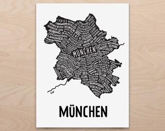 Munchen Munich Citymap, Germany Map, Graphic Art, Poster, Print, Gift ,Stadtplan