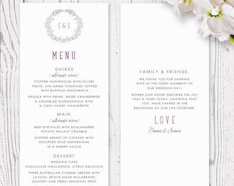 Purple Grey Laurel Wreath Wedding Menu Printed on Luxury Cardstock | Monogram, Delicate, Rustic | Laurel Wreath | Peach Perfect Australia