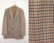 55%OFF July25-28 mens 60s blazer size 44R, houndstooth blazer, knit blazer, travel blazer, 1960s mad men brown, mens sports coat jacket