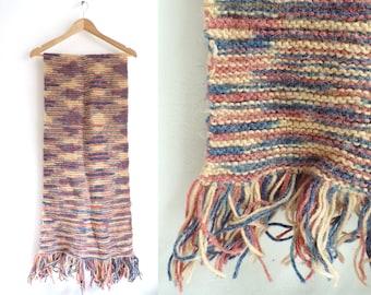 striped scarf, acrylic scarf, hand knit scarf, wrap scarf, beige puce pink blue, fringe scarf, handmade scarf, fall scaf, winter scarf