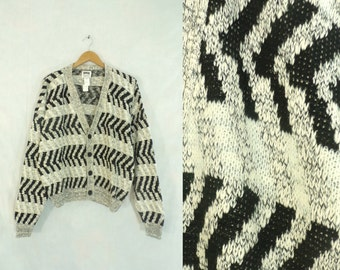 55%OFF July25-28 mens chevron sweater size medium / large, black & white, cardigan sweater, button down, 70s sweater, 1970s, mens jumper