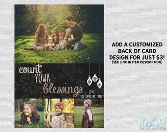 Count Your Blessings Holiday Card With 4 Photos Digital Printable File