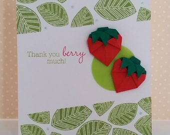 "Handmade Origami Strawberries Thank ""Berry"" Much Card"