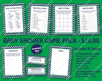 Baby Shower Game Pack Navy Green -70% OFF- PRINTABLE Baby Shower Games 8 Pack - Navy Blue Kelly Green - Nautical Party Diaper Raffle Ticket