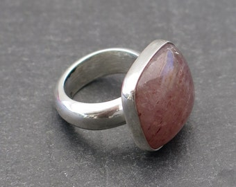 Ring sterling silver and rose quartz