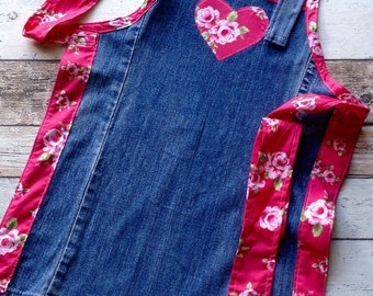 Girls Apron - Denim & Roses