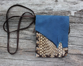 Blue Goat Leather and Spitting Cobra Snake Skin Medicine Bag, Pouch Necklace, Herb Satchel, Crystal Bag