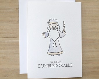 Dumbledore Greeting Card // harry potter card, harry potter love card, watercolour dumbledore, watercolour harry potter, punny card, pun