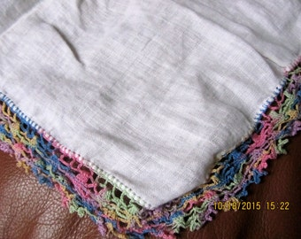 Handkerchief vintage linen with lace embroidered edges pink blue white