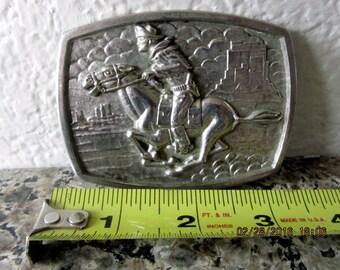 Silver Plate belt buckle cowboy horse western large vintage