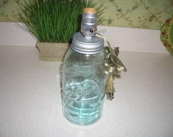 Antique Aqua Two Quart Ball Mason Jar Lamp...Zinc-like Screw on Lid/Socket Fixture