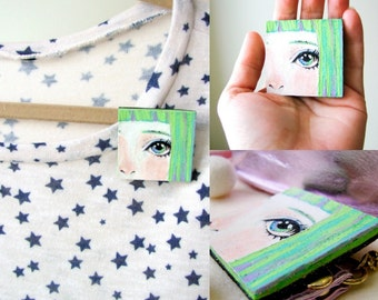 Big eye brooch, Eye jewelry, Kawaii, Anime pin