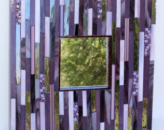 Mosaic mirror / Purple / Monochromatic / Stained glass / Modern mirror / Wall mirror / Glass rods / Handmade / Silver / Square mirror / Art