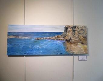 Dangerous Cliffs original artwork, oil painting, seascape
