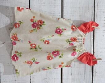 Heaven Sent Handmade girl flutter sleeve dress floral flowers roses bouquet size 3