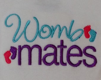 WombMates Embroidered Onesies Set of 2