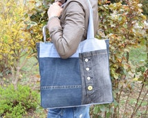 Very big denim handbag, Recycled denim tote, Pachwork tote bag, Large Boho purse, Modern market bag