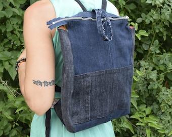 Backpack,student backpack, Denim Backpack, Recycled Backpack, Blue Jeans Backpack, Boho Hippie backpack, School Backpack