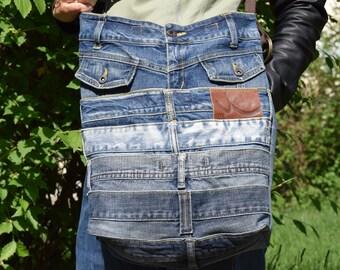 Denim Bag, Denim Tote, Denim Belts Purse, Upcycled Bag, Big Shoulder Bag, Recycled Shopping Bag, Boho bag