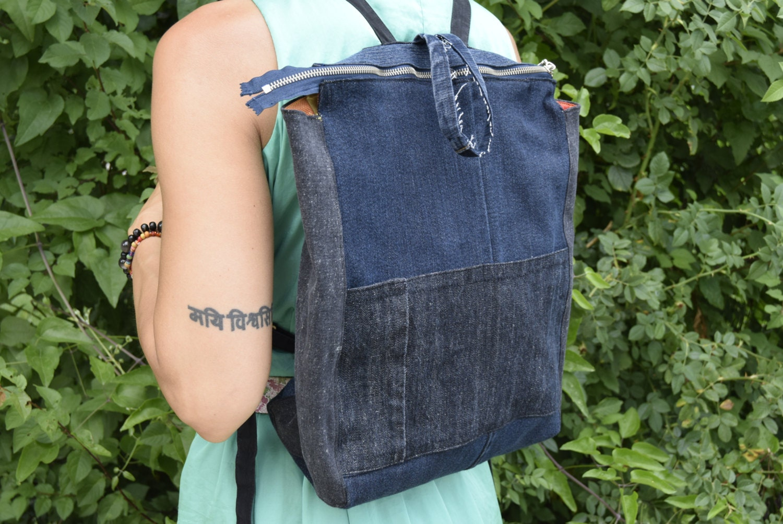 Backpack Denim Backpack Recycled Backpack Blue Jeans