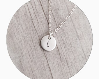 Initial Necklace | Sterling Silver | Charm Necklace  | Handstamped Necklace
