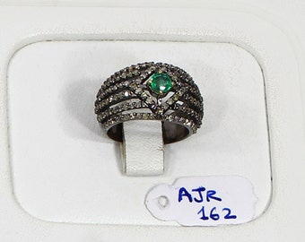 Handmade Simple Band Resizable Women Ring  .925 Sterling Silver with 6-rows of Pave Diamonds & Emerald  Size 6.5