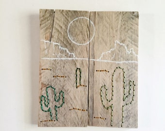 Cactus Art, Hand Embroidery, Wood Wall Art