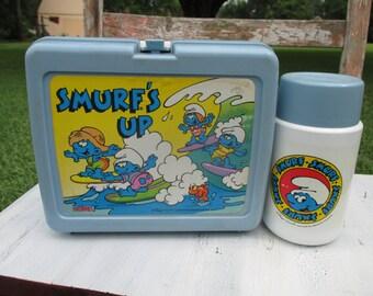 retro 1980's smurfs lunch box, smurfs lunchbox, smurfs lunch kit, collectible lunch box, smurf's up, lunch box thermos, smurfs thermos